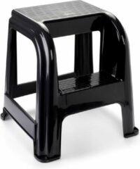 Forte Plastics Zwart keukenkrukje/opstapje met 2 treden 45 cm - Keuken/badkamer krukjes/opstapjes