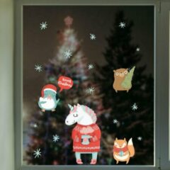 Rode Crearreda Muursticker Kerstmis Unicorns – Kerststickers – Vinyl – Raamstickers – Raamdecoratie Kerstmis – 19 stickers
