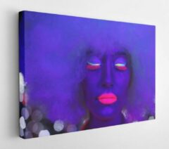 Onlinecanvas Fantastic video of sexy cyber raver woman filmed in fluorescent clothing under UV black light - Modern Art Canvas - Horizontal - 686198620 - 115*75 Horizontal