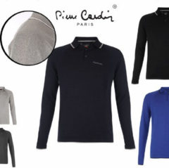Pierre Cardin Longsleeve Polo - Knit Grey Marl Small