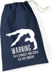 Marineblauwe Sparkle&Dream Leertjes/Lusjes Tasje 'Warning Gymnast' Navy, voor turnen en gymnastiek
