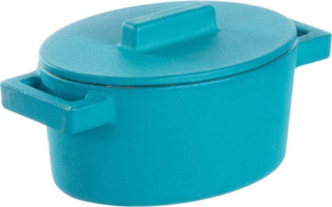 Afbeelding van Blauwe Sambonet Terra.cotto Braadpan - Ovaal - Incl. Deksel - 13 X 10 Cm - Gingerbread