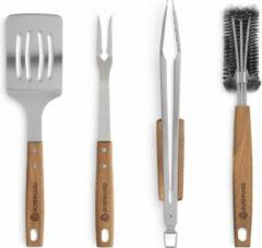 Zilveren Burnhard BBQ Gereedschap - Acaciahout roestvrijstalen Grillbestek-Set 4-delig