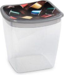 Hega hogar Koffiecups plastic bewaarbakje transparant/grijs - 1,1 liter - 13 x 11 x 13 cm - Bewaarbakjes/voorraadbakjes