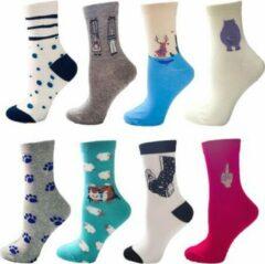 Beige GrandSock Sokken dames 6 paar - mix / random / surprise - grijs - wit - roze - blauw- groen - Maat 36-40