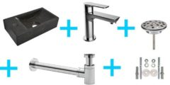 Douche Concurrent Fonteinset HS Rechthoek Links 36x18x9cm Hardsteen Antraciet Toiletkraan Sifon Plug Bevestigingsset