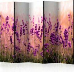 Paarse Kamerscherm - Scheidingswand - Vouwscherm - Lavender in the Rain II [Room Dividers] 225x172 - Artgeist Vouwscherm