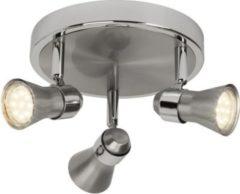 Brilliant Modernes LED Spotrondell Sanny, GU10, 5W, 3-flammig, eisen/chrom
