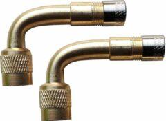 Goudkleurige YMP Haaks ventiel opzetstuk / verlengstuk hulp (set van 2 stuks) voor eenvoudig oppompen banden, voor auto, motor, etc.