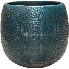 Donkerblauwe Ter Steege Pot Marly Ocean Blue ronde blauwe bloempot voor binnen en buiten 41x38 cm
