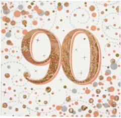 Roze Oaktree UK Servetten 90 jaar Rose Gold (16 stuks)