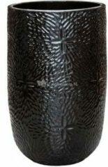 Ter Steege Hoge Pot Marly Black ronde zwarte bloempot voor binnen en buiten 47x70 cm