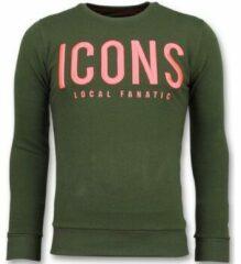 Local Fanatic ICONS - Merk Sweater Mannen - 6349G - Groen Sweaters / Crewnecks Heren Sweater Maat XL