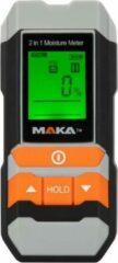 Oranje Maka 2 in 1 digitale vochtmeter - Hygrometer - Geschikt voor hout en bouwmaterialen - Batterijen inbegrepen - Verlicht LCD scherm - Data Hold Geheugenfunctie