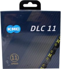 Zwarte KMC X11 SL DLC Super Light Kettingslot 11-speed, black/yellow Uitvoering 118 schakels