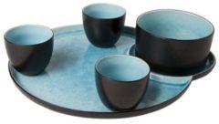 Blauwe Cosy&Trendy / ibiza-lifestyle Cosy&Trendy Laguna Azzurro Snack- & Tapasschaal - Aardewerk - 5 delig