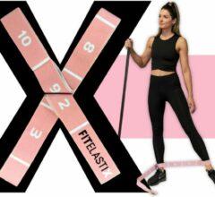FITELASTIX - Premium Weerstandsband Stof - Voor Elk Niveau - Resistance Band - Full Body - Sport Elastiek Fitness - Fitness Elastiek - NRGXFIT Roze
