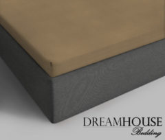Dreamhouse bedding - topper hoeslaken - katoen - lits-jumeaux - 180x220 cm - taupe - 2-persoons (180 cm) - taupe