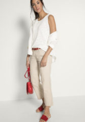 Hessnatur Damen Hose aus Baumwolle mit Leinen – beige – Größe 42