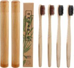 Btp Bamboe tandenborstels |Set Van 4 Tandenborstels Plus 2 Bamboe Kokers| Medium soft | Biologisch Afbreekbaar | 2 Bruin - 2 Zwart|