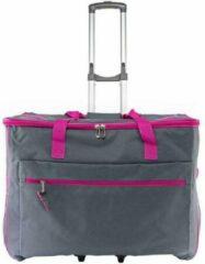 Hemline Luxe naaimachine trolley grijs met fuchsia roze