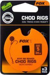 Kaki Fox Edges Arma Point Stiff Rig Beaked Chod Rigs - Standaard - 30lb - Haakmaat 5 - Transparant