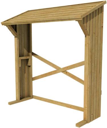 Afbeelding van Bruine Woodvision - Haardhoutberging Aster - Grenen - 157/180x183x74 cm