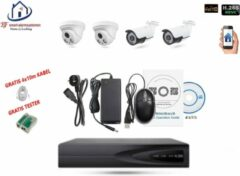 Witte Home-Locking camerasysteem met bewegingsdetectie en NVR 5.0MP H265 POE met 2 binnen en 2 buitencamera's 1944P 5.0MP CS-4-1442
