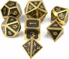 Top Dice™ - 7 Metalen Dobbelstenen Dungeons & Dragons – Goud met Zwart – Polydice set TRPG