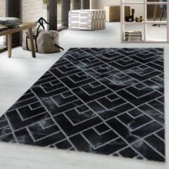 NAXOS Impression Vendi Design Laagpolig Vloerkleed Zwart Zilver- 140x200 CM