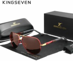 KingSeven Aviator - Trendy Piloten zonnebril met UV400 en polarisatie filter - Rood