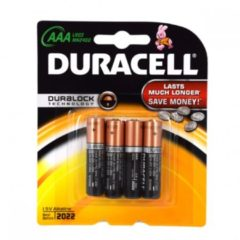 Zwarte Duracell batterijen LR03 AAA 4 stuks