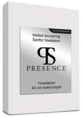 Presence Molton Sanfor Hoeslaken - Extra Hoog - Platinum - 140x200 cm Wit