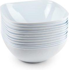 Forte Plastics 8x Schalen/schaaltjes vierkant wit - 1,8 l - Salade/sla/snacks serveren - Herbruikbare schalen/kommen van plastic - Keukenbenodigdheden