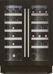 Zwarte Lechai Le Chai LSBN380 onderbouw wijnkoeler met ruimte voor 38 flessen en 2 temperatuur zones