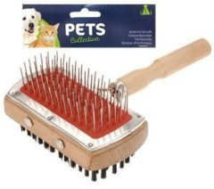 Pets Collection 2-in-1 Hondenborstel 18 Cm Staal/nylon/hout