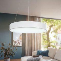 Wohnling LED-Deckenleuchte ROUND rund matt weiß Metall EEK A+ Büro-Deckenlampe 92 Watt Ø 60 cm Design Arbeitsplatz Hängelampe 7820 Lumen kaltweiß ohn