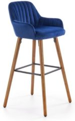 Donkerblauwe Home Style Barkruk Marley 97 cm hoog in blauw