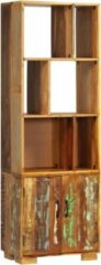 Bruine SJ interiors Boekenkast 60x35x180 cm gerecycled hout (Incl Magazine Houder) - Boeken kast - Boekenrek - badkamer rek - Woonkamer rek