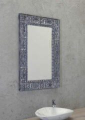 Sapho Ubud spiegel industrieel met houten frame 70x100cm grijs