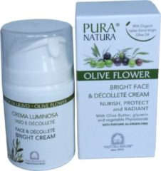 "Pura Natura Olive Flower Bright Face Dag & Nachtcrème in ""Airless"" Doseerpompje 50 ml."