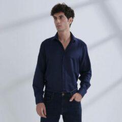Heren Overhemd Donkerblauw MT 44 - Baurotti Lange Mouw Regular fit