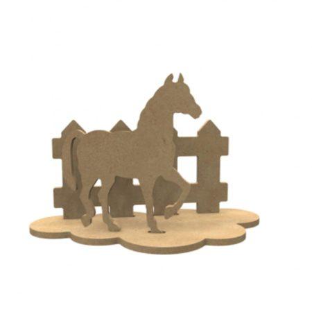 Afbeelding van Naturelkleurige Gomille MDF Figuren Paard Set 24x15 xm