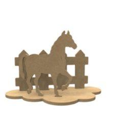 Naturelkleurige Gomille MDF Figuren Paard Set 24x15 xm