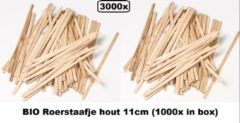 Naturelkleurige Thema party 3000x Bio Roerstaafje hout - 5 x 110 mm - Roer staafjes koffie melk suiker hout festival thema feest verjaardag werk lepel