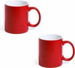 Shoppartners 2x Drinkbeker/mok rood/wit 350 ml - Keramiek - Rode mokken/bekers voor onbijt en lunch