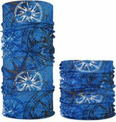 Fako Fashion® - Microfiber Faceshield - Bandana - Nekwarmer - Sjaal - Kompas Blauw