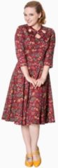 Dancing Days Flare jurk -3XL- AUTUMN LEAVES Rood