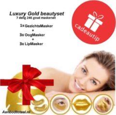 Gouden Luxury Gold Gold collageen Beauty Set - collageen Gezichtsmasker- 3x oogmaskers en 3x lipmasker ( set van 7 stuks) / anti age / wallen en donkere kringen weg / vollere lippen