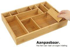 Decopatent® Bamboe bestekbak voor keukenla - Bestek organizer van hoogwaardig bamboe hout - Besteklade - Bestekcassette bestekbak